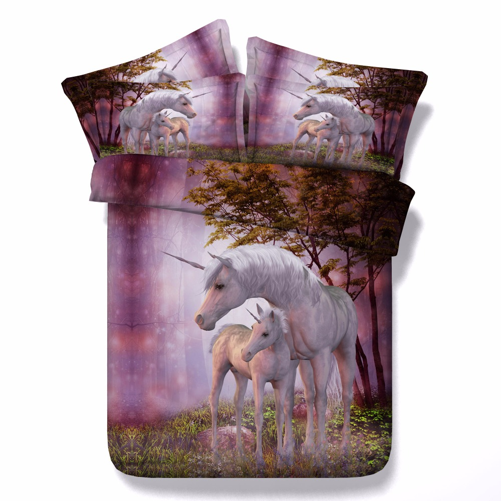 Home 187 unicorn quilt cover set return to previous page - Aliexpress Com Buy Unicorn Series Kids Single Bed Purple 3d Unicorn Print Bedding Set Super King Size Quilt Covers Queen Bedspread From Reliable Bedding