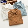 Women Long Sleeve Corduroy Shirts Embroidery Hollow Out Shirts Women Blouse Plus Size Female Patchwork Floral Office Shirt Tops