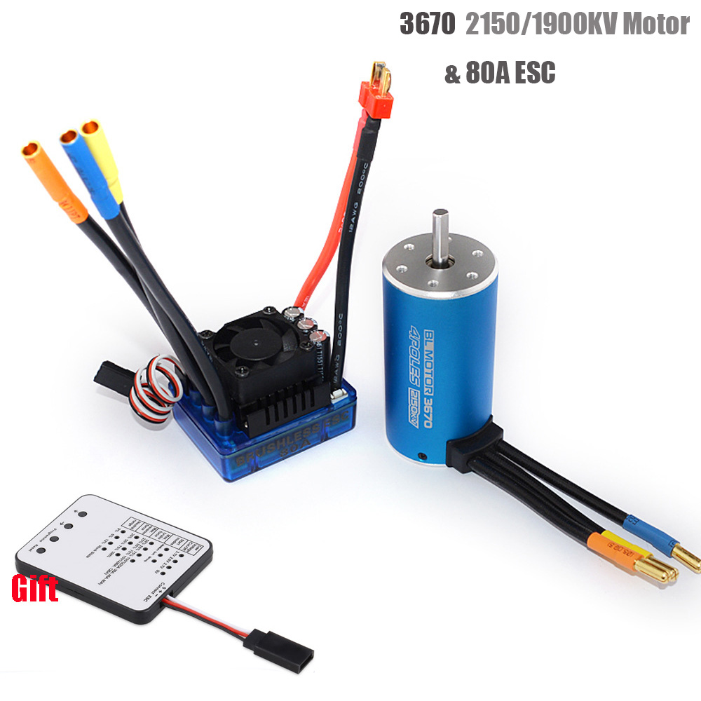 RC 3670 2150KV 1900KV 4 polos Sensorless Motor sin escobillas con 80A ESC y LED tarjeta Combo Set para 1/8 RC coche camión