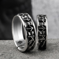 Nordic mythology Viking rune S925 sterling Silver rings for man and women Kabala totem Index Ring fashion jewelry