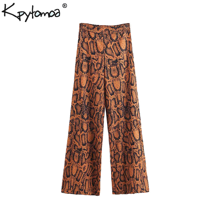 Vintage Snake Print Flare Pants Women 2019 New Fashion Zipper Fly High Waist Streetwear Ladies Trousers Casual Pantalon Femme Bottoms