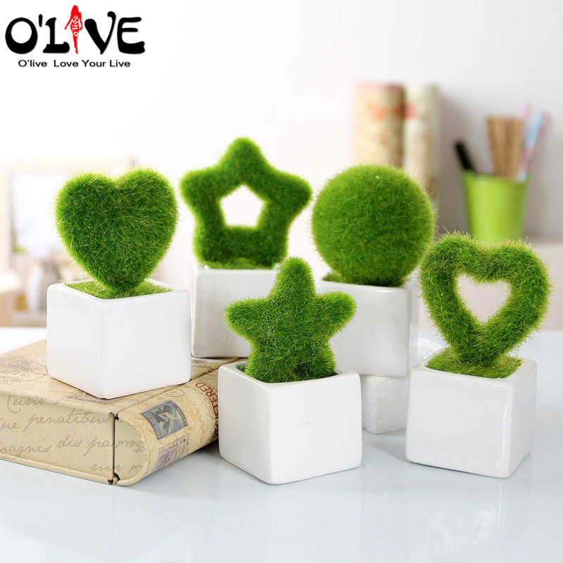 Mini green artificial plants flowers decor bonsai crafts for Decorative flowers for crafts