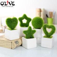 Mini Green Artificial Plants Flowers Decor Bonsai Crafts Wedding Decorative Flowers In Pots Furnishings Home Garden Ornament