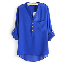 Womens Tops and Blouses for Summer Spring Plus Size Long Sleeve V-Neck Black White Shirts Casual Loose Chiffon Shirt Clothing(China)