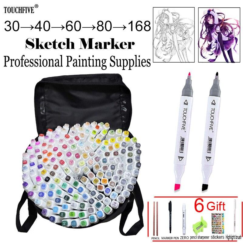 Touchfive 30/60/80/168 colores marcadores artísticos de alcohol aceitoso Marcador para dibujar manga pincel pluma Animación Diseño suministros de arte Marcador