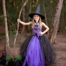 цены Purple Black Girls Party Dresses Little Witch Halloween Costume Baby Kids Tutu Dress Fancy Clothing Cosplay Birthday Festival