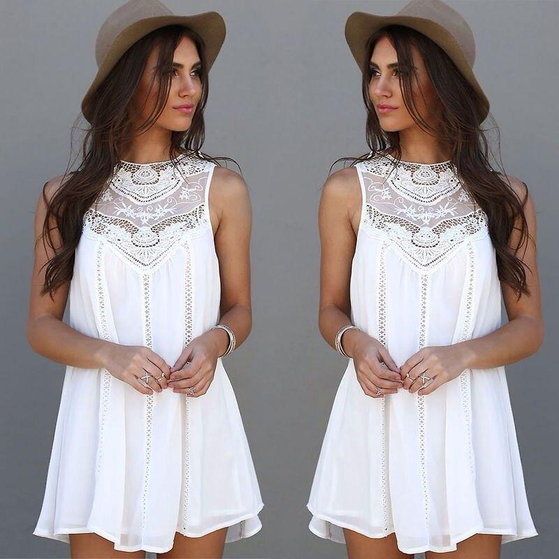 ff57ae7d4c2 Summer Dress 2016 Sexy Women Casual Sleeveless Beach Short Dress Tassel  Solid White Mini Lace Dress Vestidos Plus Size