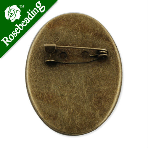 30*40mm Brass Brooch Back Base Safety Pin with Oval Flat Pad,Sold 20 PCS per pkg