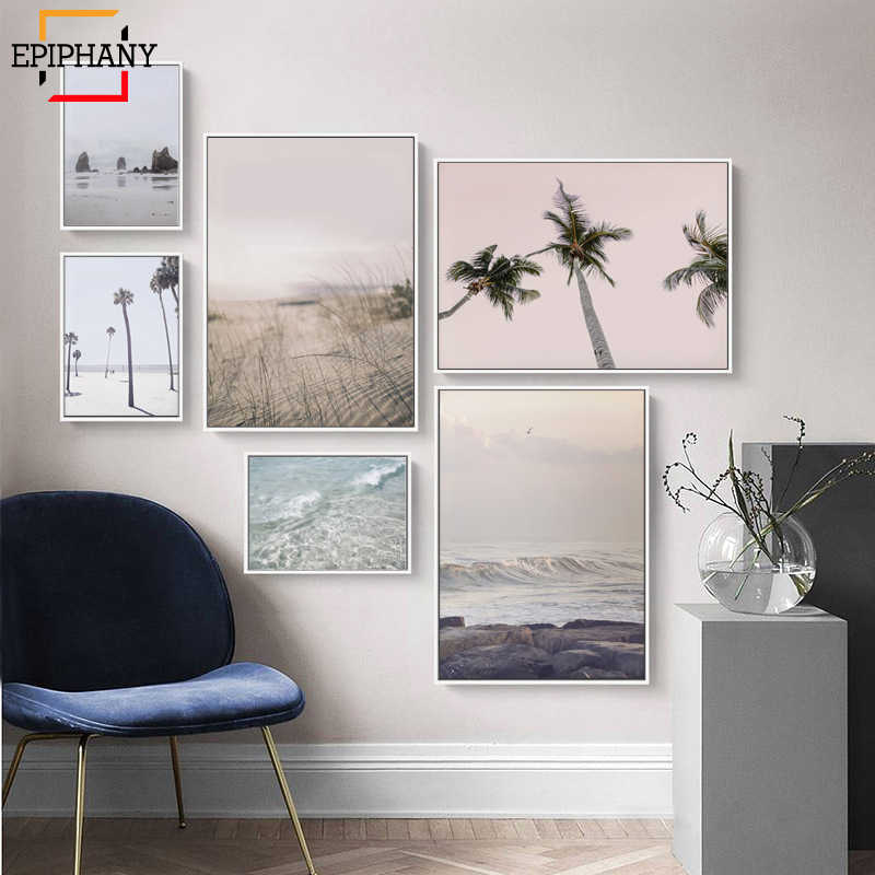 Coastal Gallery Wall Art Prints Pastel Palm Tree Canvas Painting Ocean Posters and Prints Nordic Wall Pictures for Living Room