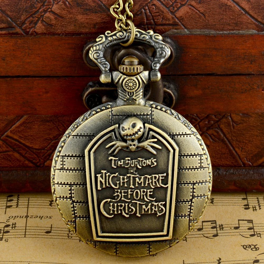 Steampunk Full Hunter Nightmare Before Christmas Fob Retro Pendant Pocket Watch Chain Gift