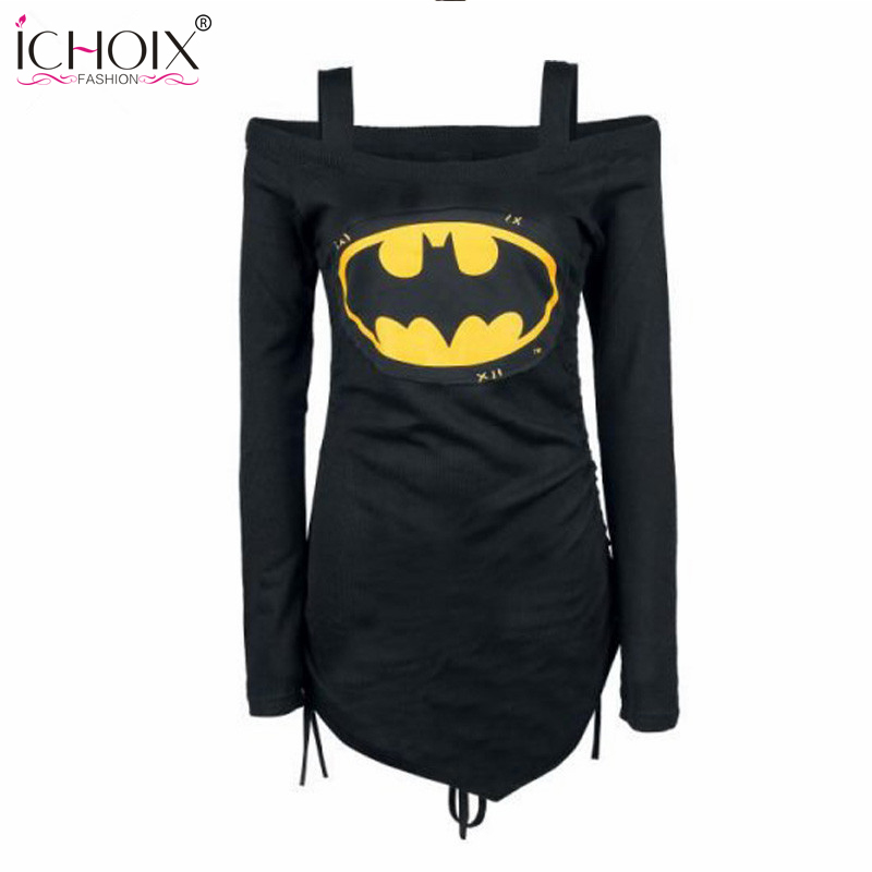 ICHOIX 2017 Summer New Black Fashionable print Tops lace up clothing Femme Sexy off shoulder Long sleeve Shirts Casual Top Tees