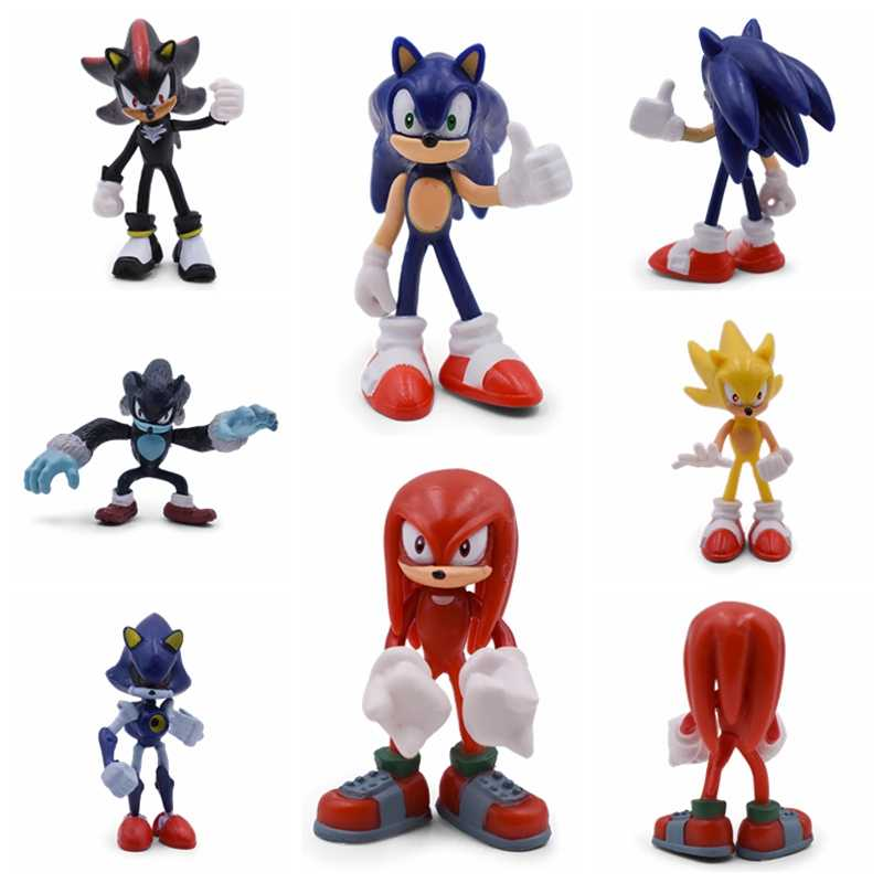 Sonic Action Figure Cute Anime Mini Sonic Boom Rare Shadow PVC Collectible Model Doll Toys Gift For Kid Free Shipping