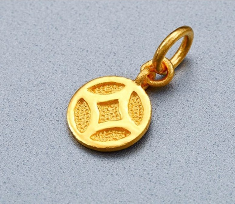 купить Pure 24K Solid 999 Yellow Gold Pendant / Money Coin Pendant