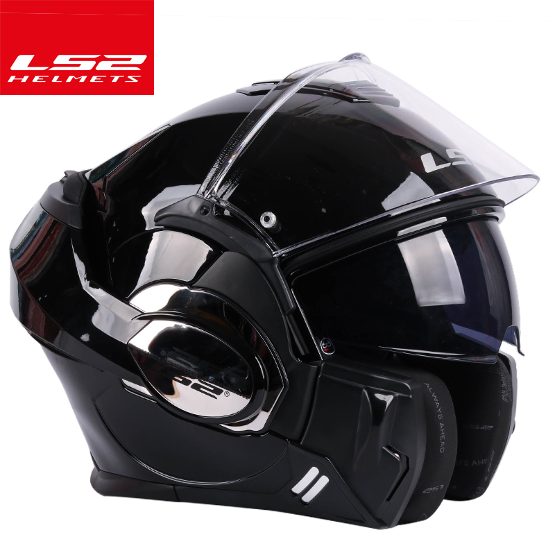 LS2 FF399 Flip up casque à double lentille moto casque salto arrière casque