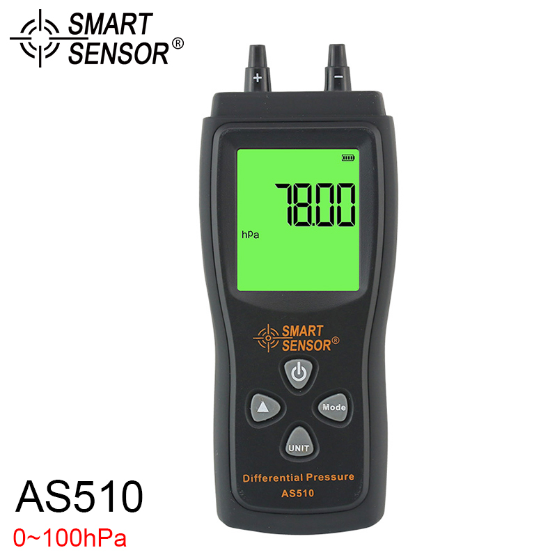 AS510 Differential Pressure Meter 0 100hpa Digital Manometer Air Pressure Meter lcd pressure gauge differential pressure meter digital manometer measuring range 0 100hpa manometro temperature compensation