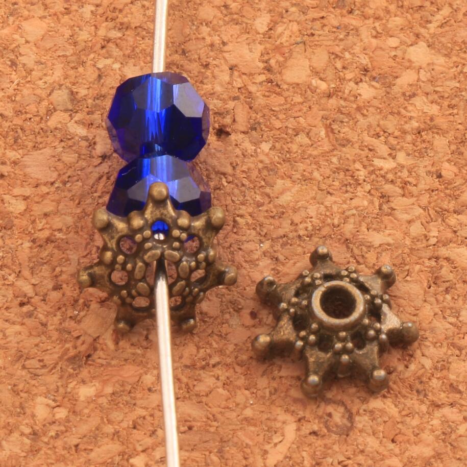 Star Dots Bead cap Jewelry Findings Components L1041 92pcs 9.4x9.6mm Antique Bronze