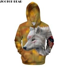 Красота 3D толстовки на молнии Для мужчин Волк с капюшоном Уличная спортивный костюм свитшоты на молнии пальто с принтом Забавный пуловер Толстовка челнока ZOOTOPBEAR
