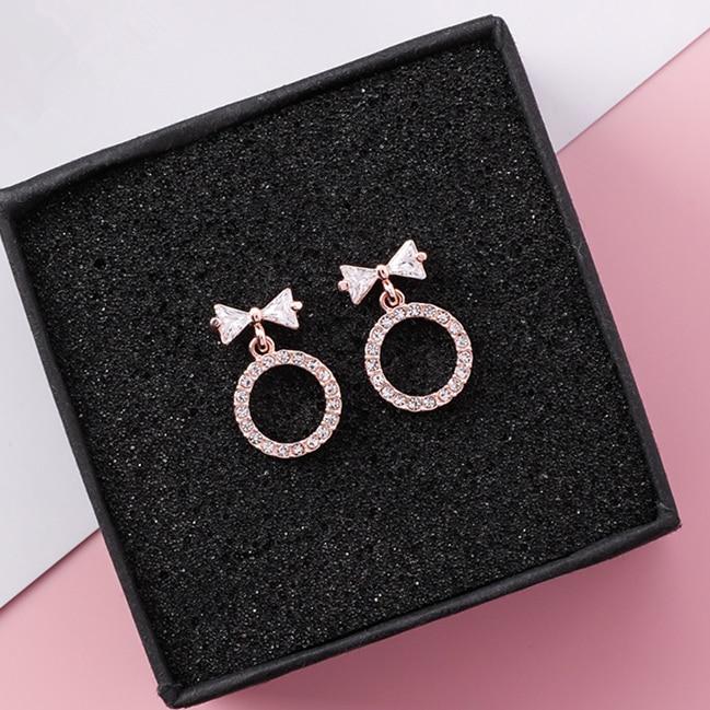 2018 Glänzende Zirkon Bowknot Geometrische Tropfen Baumeln Ohrringe Für Mädchen Sweety Niedlichen Strass Kreis Pendientes Kleine Edlen Schmuck