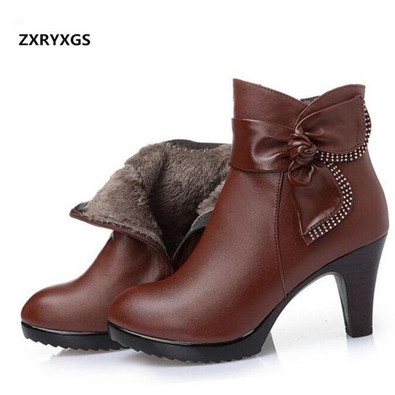 ZXRYXGS מותג קשת נשים אופנה נעלי חורף קרסול מגפי 2018 צמר חם עור אמיתי נעלי אישה שלג מגפיים גבוהה העקב מגפיים