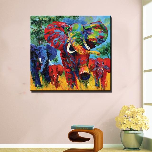 Kunst fürs wohnzimmer  Abstrakte moderne kunst elefanten bild malerei hand bemalt bunte ...