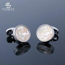 TOMYE Mens Cufflinks Grey Silver Round Golden Pattern Personalised Brass Cuff Links Studs Custom Gift XK19S077