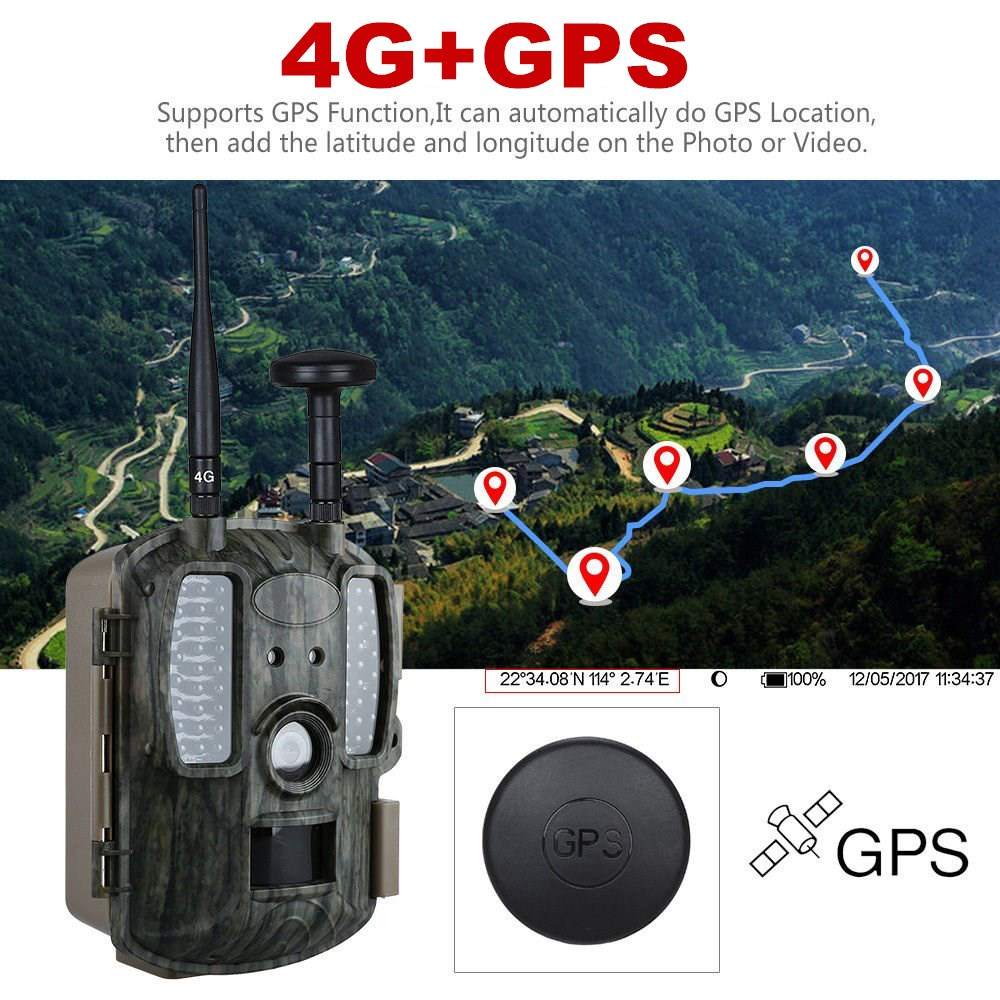 4G Hunting camera GPS FTP Camera trail Email with 4G Hunting Wildlife camera support MMS GPRS GSM Photo traps 4G Night vision sim808 module gsm gprs gps development board ipx sma with gps antenna raspberry pi support 2g 3g 4g sim card