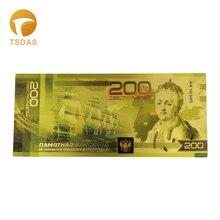 Русский 24k Коллекционная Золотая банкнота 200 рублей Валюта Билл Примечание Декорации для коллекции