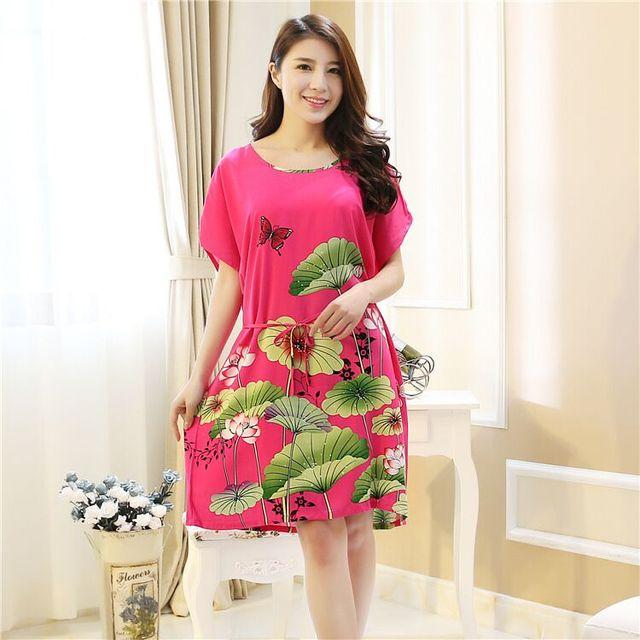 Plus Size Algodão Roupão de Banho Vestido Camisola Pijama Mujer das Mulheres Venda Quente de Verão Sleepwear Impresso One SIze A012451