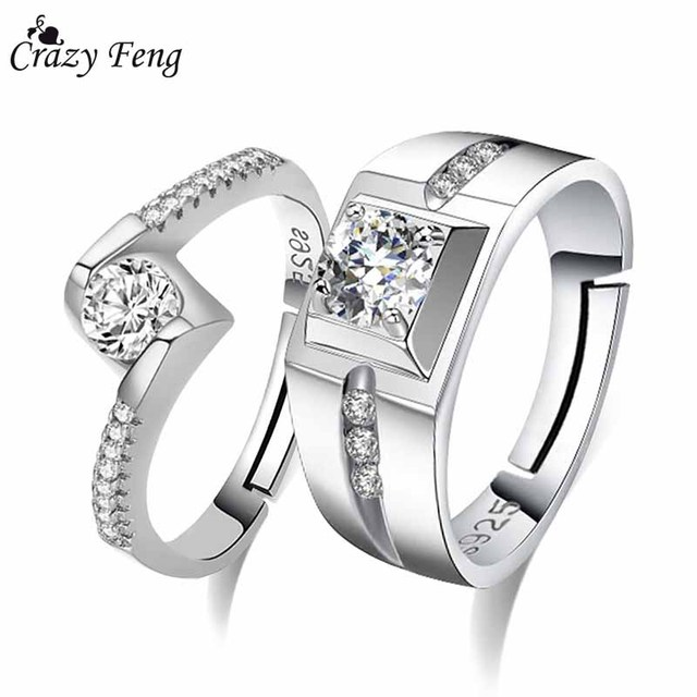 Crazy Feng 2PCS CZ Crystal Engagement Ring For Women Men Silver Color Adjustable