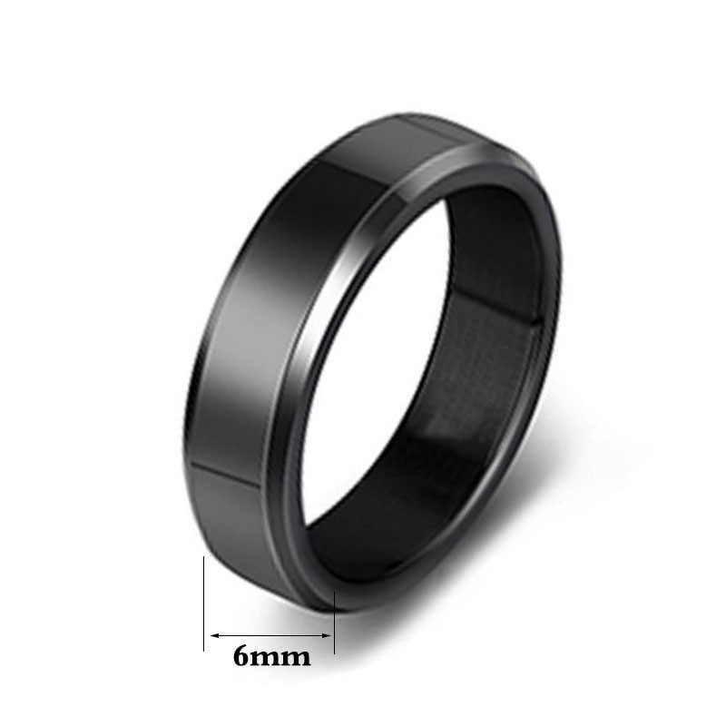 2019 6mm טיטניום פלדה שחור אצבע טבעות סט לגבר כסף מצופה טבעת עבור נשים זהב-צבע תכשיטים נקבה חתונה טבעת