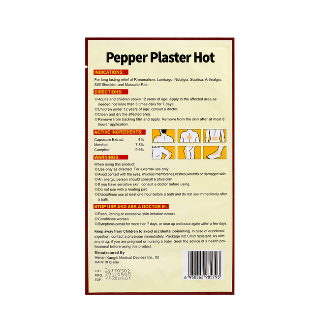 Ifory 10 Bags Capsicum Plaster 10*18cm Hot Pain Relieving Patch Medical Non-woven Joint Arthritic Leg Pain Relieving Plaster