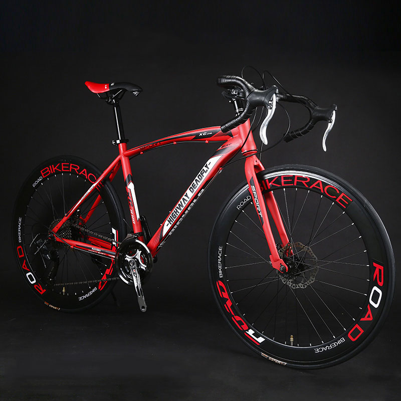 Road Bike Fixed Gear Bicycle 26 inch 24/27 Speed Shift Bend Double Disc Brake Adult Student Men And Women