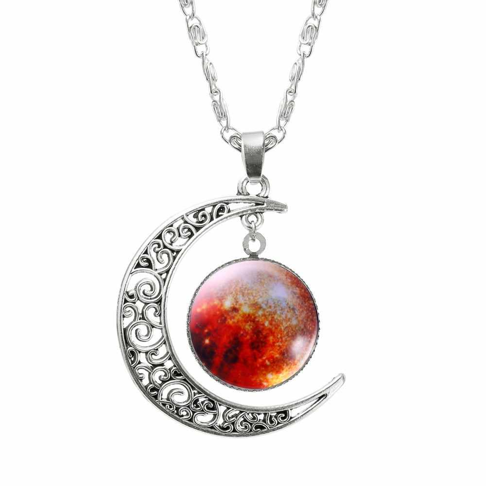 Vienkim oco lua & vidro galaxy instrução colares prata cor corrente pingentes 2018 nova moda jóias colares amigo melhor
