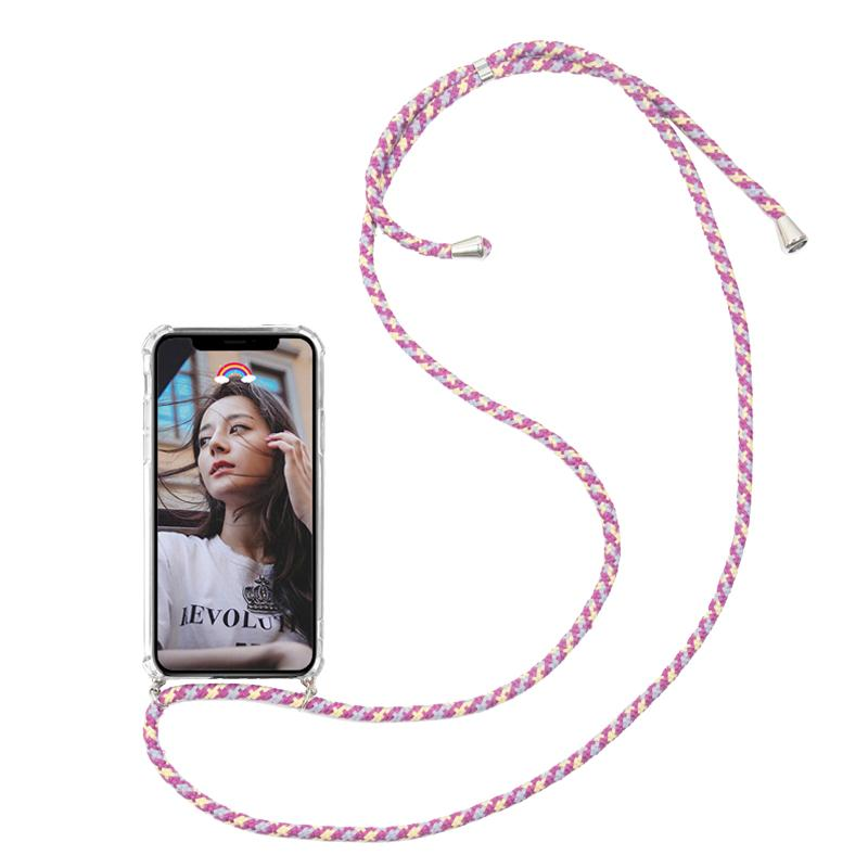 Fashion Transparent TPU Necklace Strap Rope Phone Case Cover For iPhone X XS XR Max 6 7 8 Plus Soft