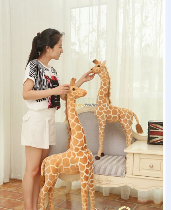 Fancytrader 55'' / 140cm Lovely Plush Giant Soft Stuffed Simulated Giraffe Toy, Nice Decoration And Gift, Free Shipping FT50180 fancytrader 2015 novelty toy 24 61cm giant soft stuffed lovely plush seal toy nice gift for kids free shipping ft50541