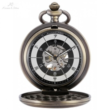 KS Bronze Chinese 12 two-hour Periods Number Skeleton Steampunk Analog Male Fobs Chain Clock Men Mechanical Pocket Watch /KSP084