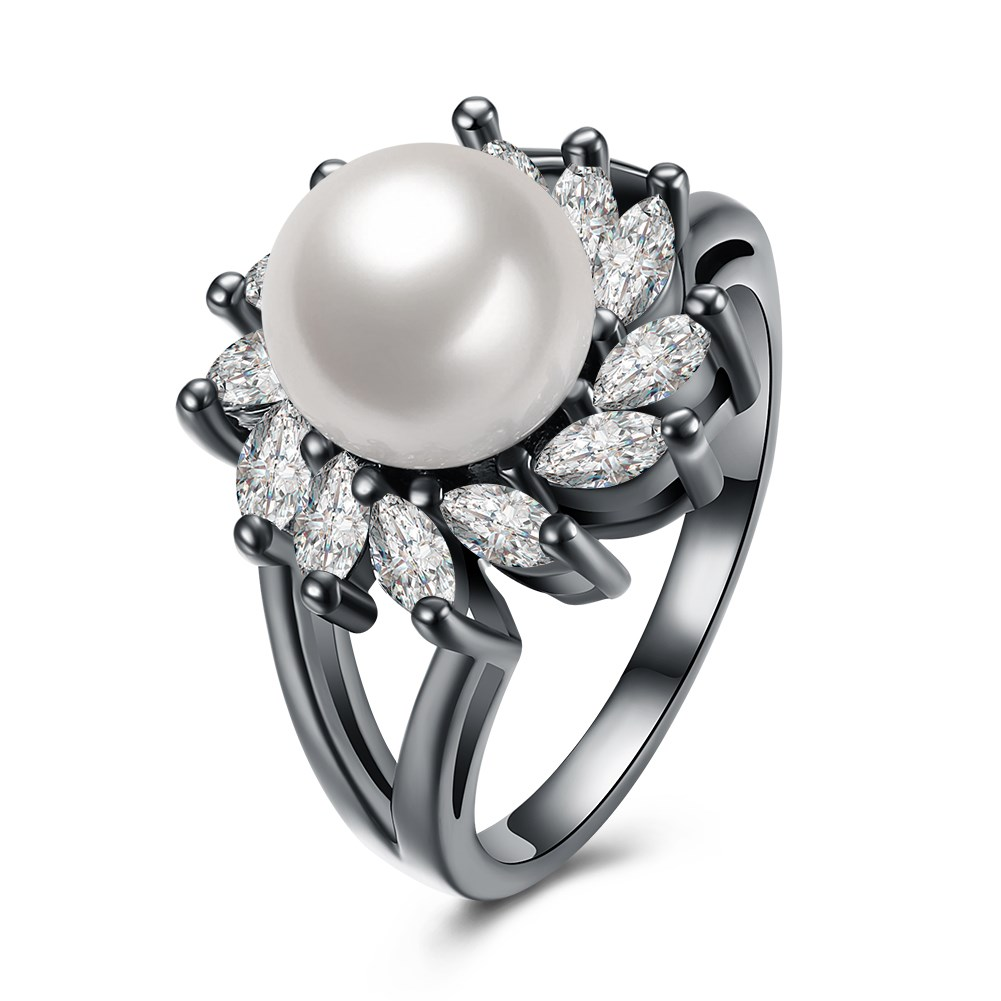 Ann & Snow Elegant Flower Design White Simulated Shell Pearl Zircon Rings  For Women Black Gun Color Party Wedding Ring R1143