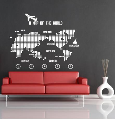 Carte du monde Sticker Mural carte du monde avion PVC Mural Art Mural autocollant carte chambre Sticker Mural décoration décorative pour la maison