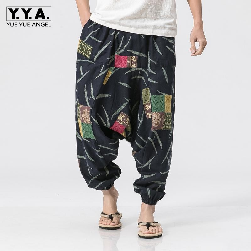 2019 Spring Mens Trousers Vintage Printing Long Linen Pants Casual Loose Fit Harem Pants Streetwear Hip Hop Drawstring Trousers