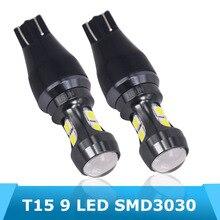 2 Piece/Lot Free Shipping T15 3 LED C.R.E.EXB-D High Power Reflector Design 6000K White 12V DC W16W Auto Internal Bulb