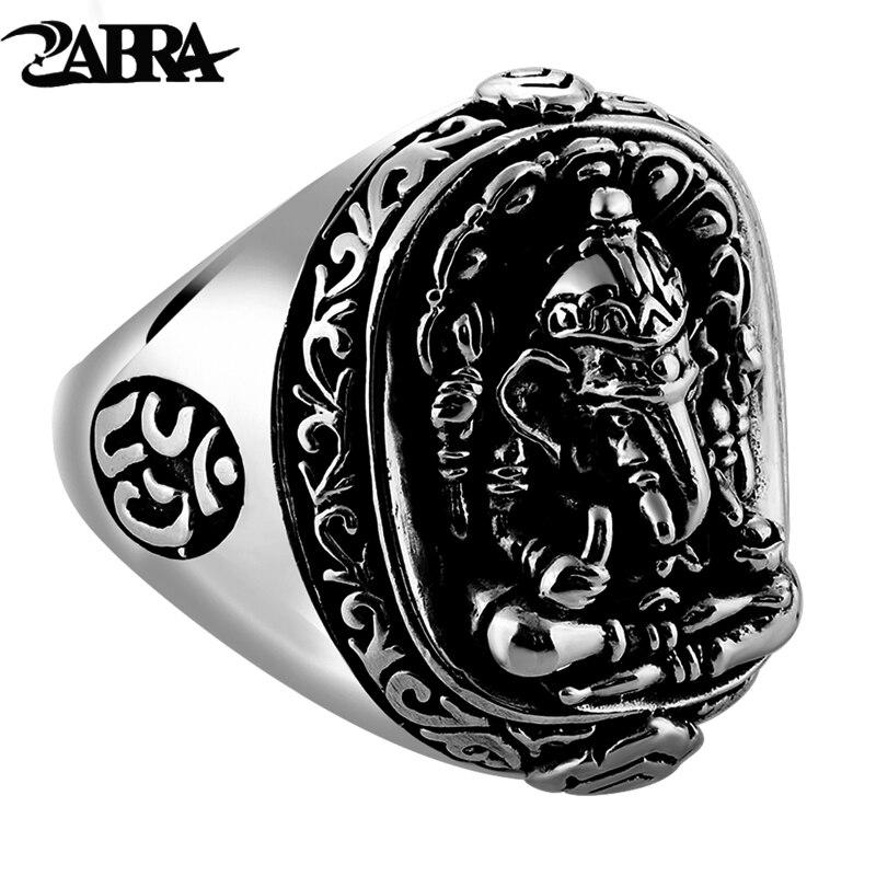 ZABRA pur solide 925 en argent Sterling éléphant nez anneaux pour hommes Vintage Punk Style thaïlande bouddha dieux anneau hommes bijoux