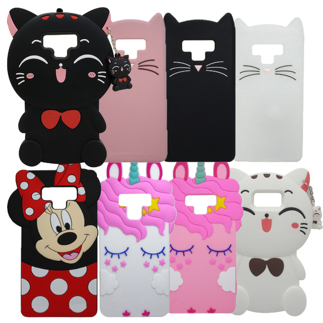 For Samsung Galaxy Note 9 Note9 3D minnie Cat Unicorn Horse Silicone Back Case Cover Skin for Samsung Note 9 phone fundas