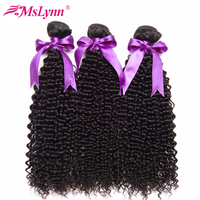 Mslynn Afro Kinky Curly Hair Bundle Deals Malaysian Hair Bundles Human Hair Weave Non Remy Hair Extension Natural Color 3/4 PCS