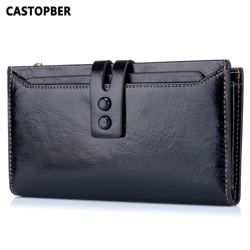 Fashion Designer Woman Oil Wax Cowhide Genuine Leather Bag High Capacity Purse European And American Style Famous Brand Quality dollar price new european and american ultra thin leather purse large zip clutch oil wax leather wallet portefeuille femme cuir