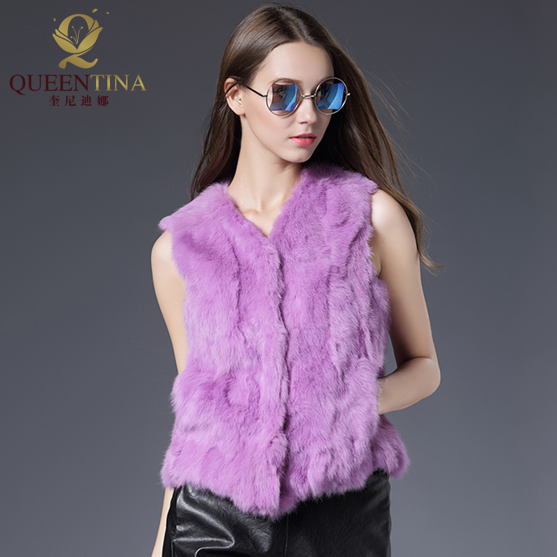 Genuine Rabbit Fur Vest Women Spring Real Fur Short Jacket Sleeveless Girls Fur Vest Warm Natural Rabbit Fur Slim Thin Waistcoat
