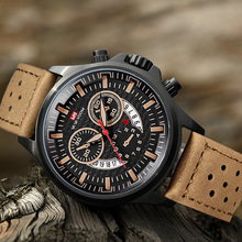 Sports Watch Calendar Quartz Waterproof Leather Strap Watch Men Fashion Men's Military Outdoor Wristwatch relogio masculino 2019