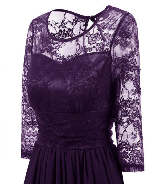 bcade2c1c3968 US $27.32 8% OFF|QMGOOD Elegant Womans Chiffon Lace Dress Brand Ladies Girl  Prom Birthday Dresses Women Retro Big Swing Lace Party Dress Vestido-in ...