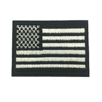 50pcs 5.4*7.4cm Iron on Patch Black USA American US United States Flag Embroidered Patches Clothes Stickers Apparel