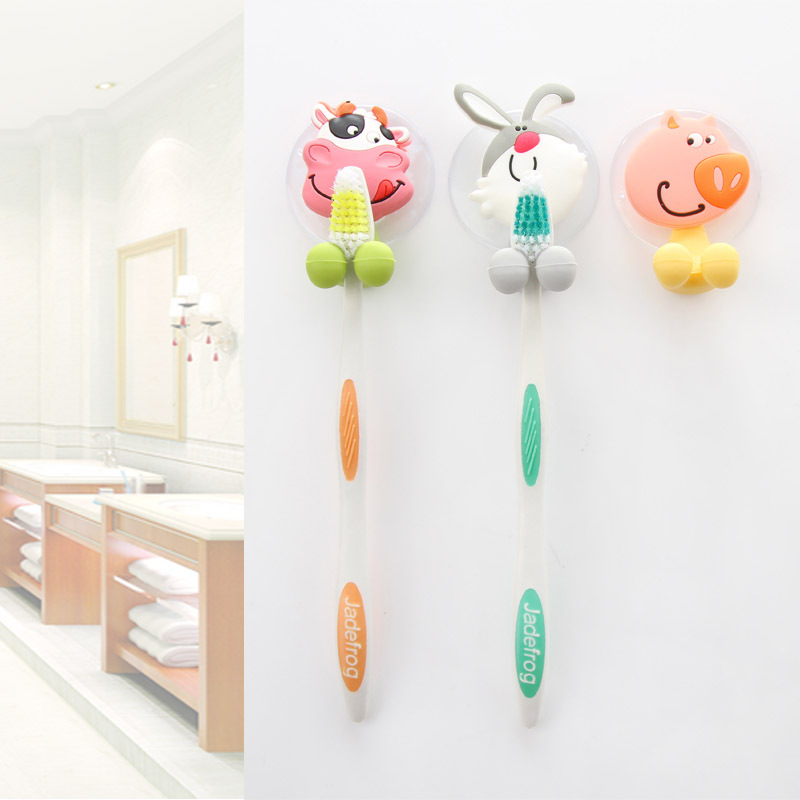 WHISM Cartoon PVC Toothbrush Holder Suction Cup Wall Mount Hang Towel Holder Rack Bathroom Accessories Sets Tandenborstelhouder