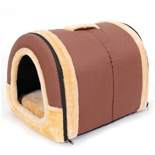 PawzRoad Dog House Foldable Pet Kennel Soft Warm Coffee Color/Brick Pattern 2 Options Easy Take S/M/L Cat Bed Kennel Medium Dog